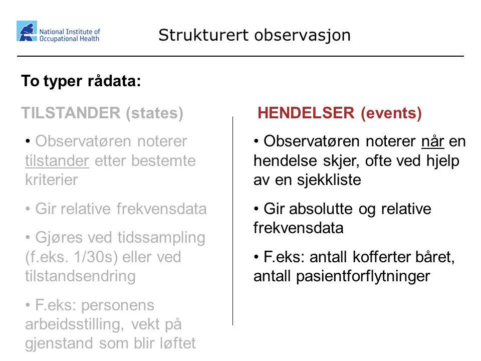 25 Strukturert observasjon To typer rådata: TILSTANDER (states)HENDELSER (events) • Observatøren noterer når en hendelse skjer, ofte ved hjelp av en s