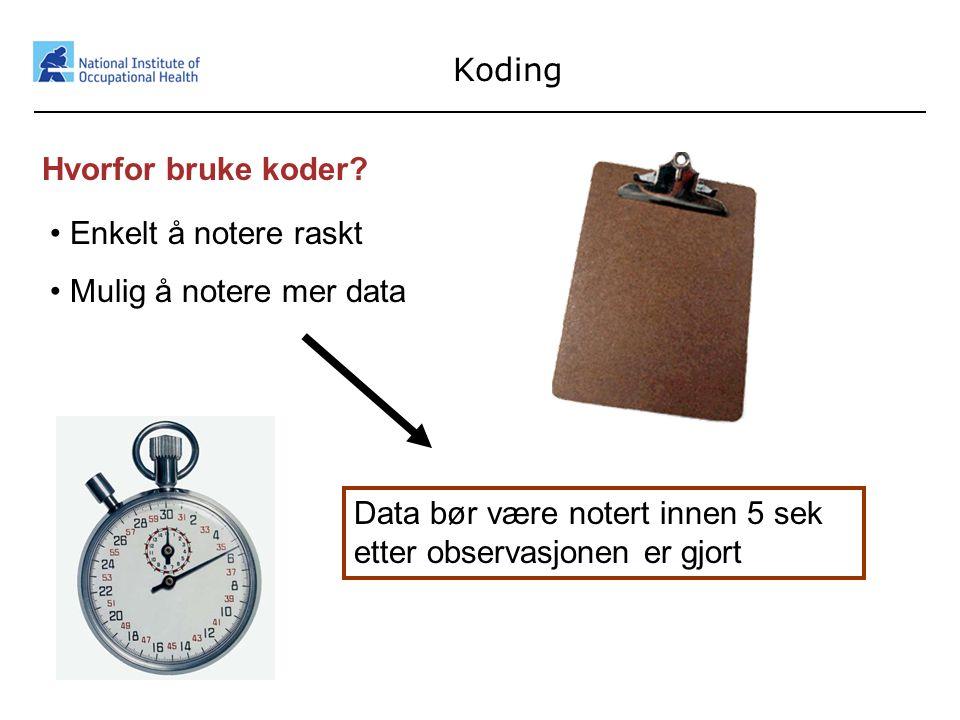 28 Koding Hvorfor bruke koder? • Enkelt å notere raskt • Mulig å notere mer data Data bør være notert innen 5 sek etter observasjonen er gjort
