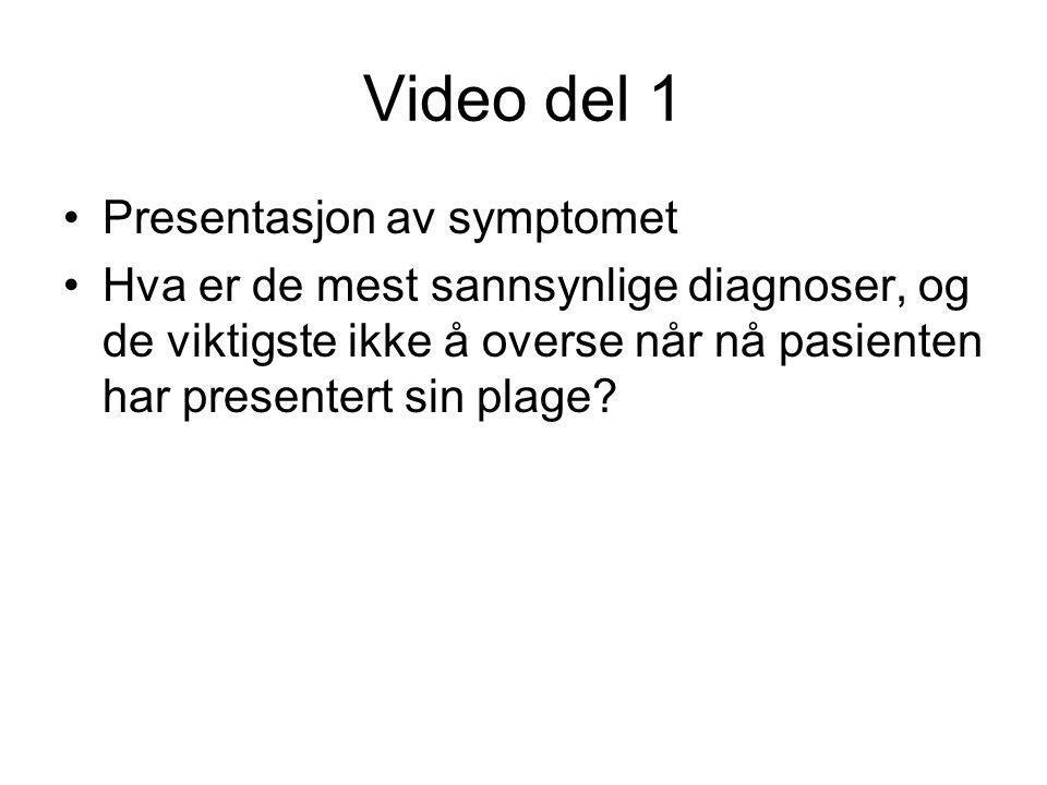 Video del 1 •Presentasjon av symptomet •Hva er de mest sannsynlige diagnoser, og de viktigste ikke å overse når nå pasienten har presentert sin plage?