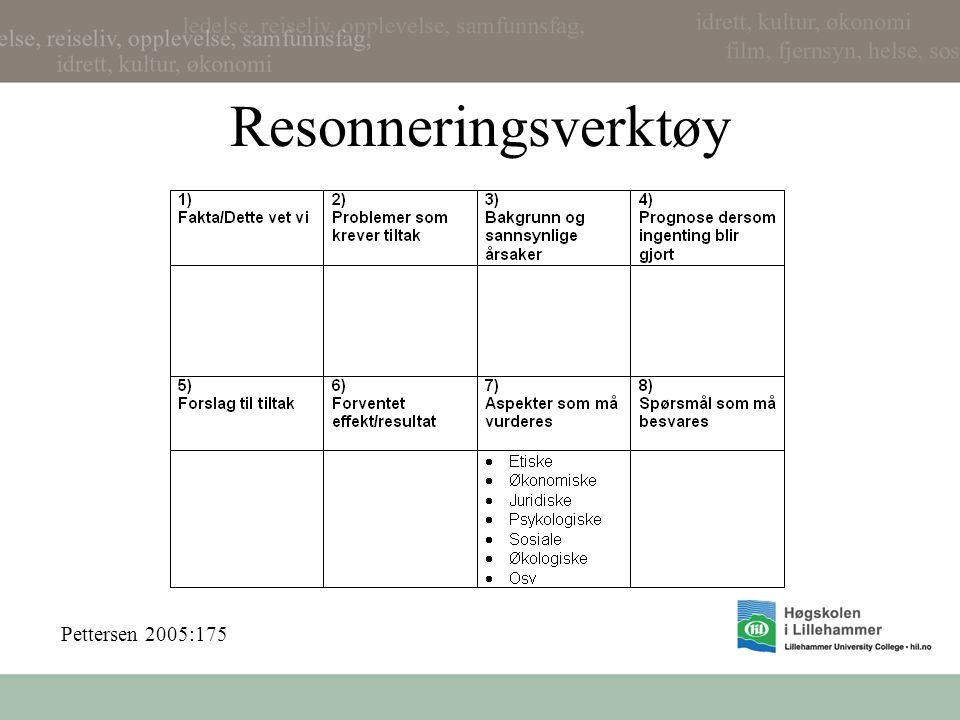 Resonneringsverktøy Pettersen 2005:175