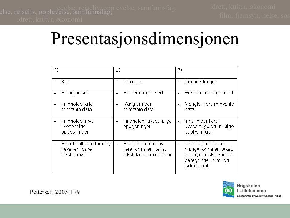 Presentasjonsdimensjonen Pettersen 2005:179