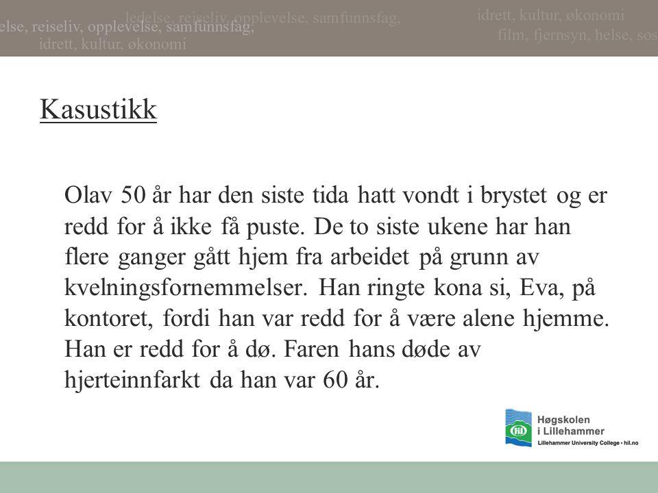 Kasustikk Olav 50 år har den siste tida hatt vondt i brystet og er redd for å ikke få puste. De to siste ukene har han flere ganger gått hjem fra arbe
