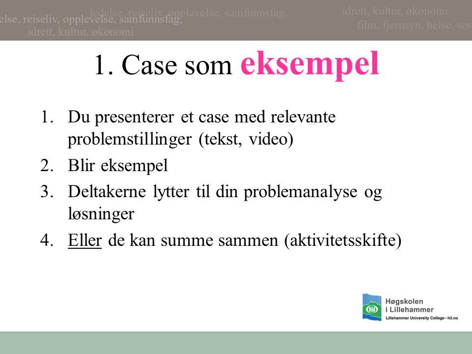 1. Case som eksempel 1.Du presenterer et case med relevante problemstillinger (tekst, video) 2.Blir eksempel 3.Deltakerne lytter til din problemanalys