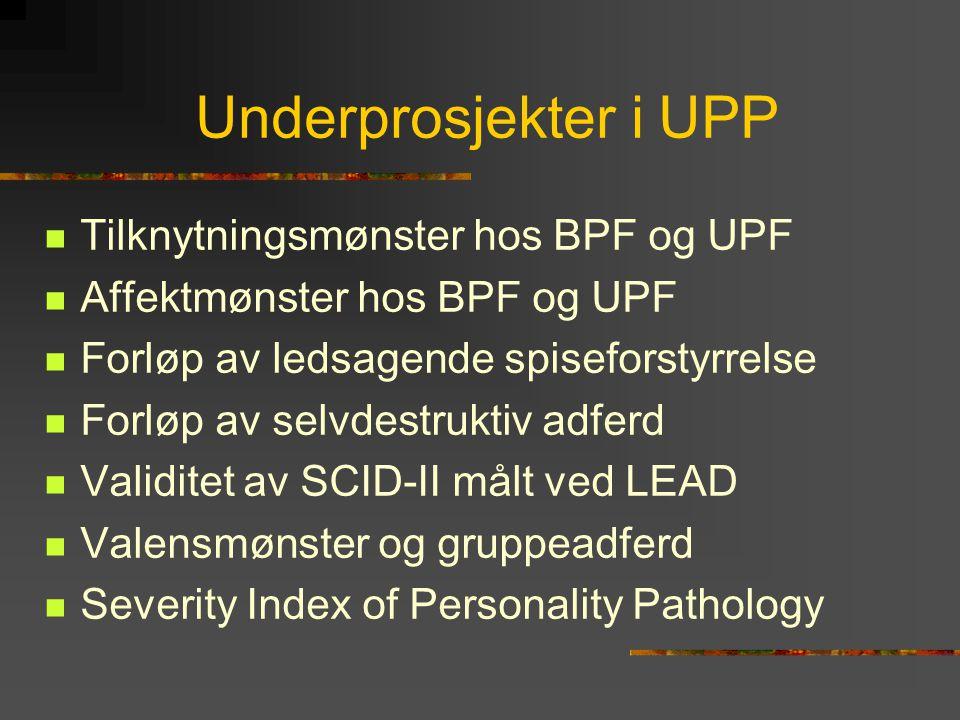 Underprosjekter i UPP  Tilknytningsmønster hos BPF og UPF  Affektmønster hos BPF og UPF  Forløp av ledsagende spiseforstyrrelse  Forløp av selvdes