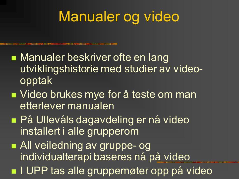 Manualer og video  Manualer beskriver ofte en lang utviklingshistorie med studier av video- opptak  Video brukes mye for å teste om man etterlever m