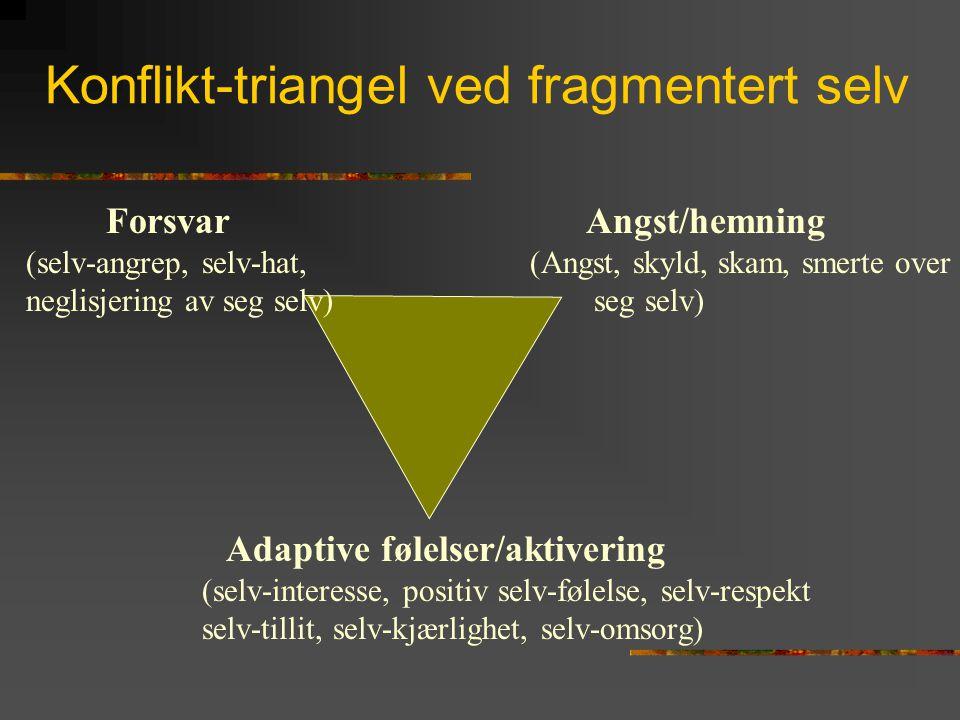 Konflikt-triangel ved fragmentert selv Adaptive følelser/aktivering (selv-interesse, positiv selv-følelse, selv-respekt selv-tillit, selv-kjærlighet,