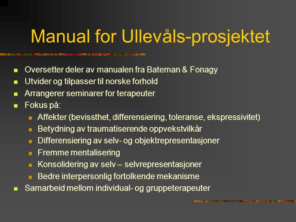 Manual for Ullevåls-prosjektet  Oversetter deler av manualen fra Bateman & Fonagy  Utvider og tilpasser til norske forhold  Arrangerer seminarer fo