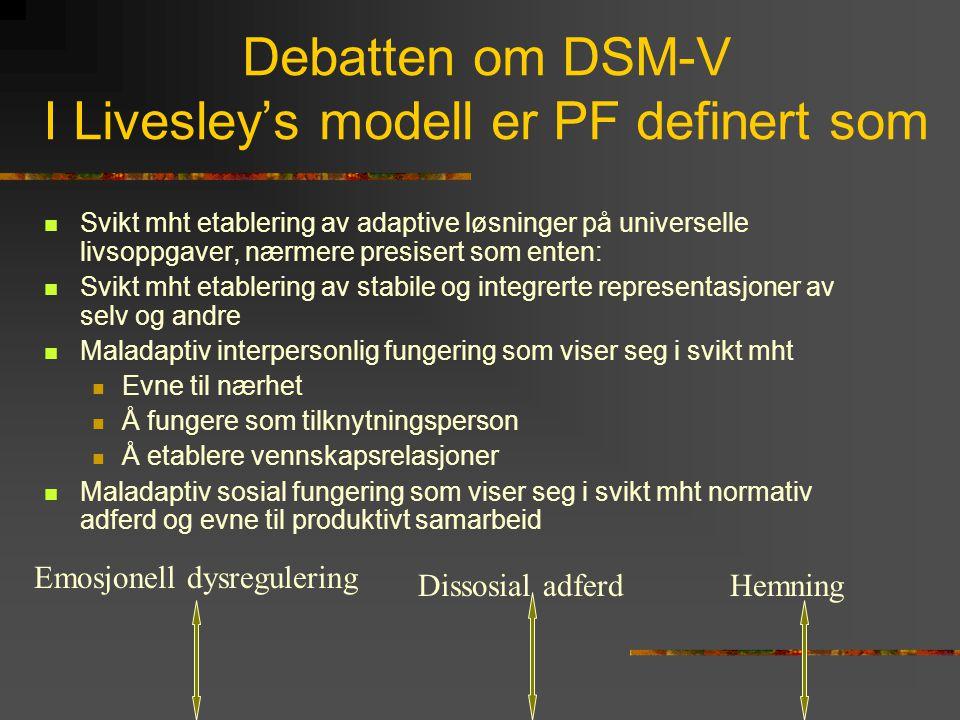 Severity Index for Personality Pathology (SIPP) (Verheul, Bateman et al.)  Mål på alvorlighetsgrad av personlighetsforstyrrelser  Sensitivt for forandring på områder som anses for behandlingsmål ved psykoterapi  Har tilfredstillende psykometriske egenskaper  Er gyldig for alle (DSM-IV) personlighetsforstyrrelser (?)