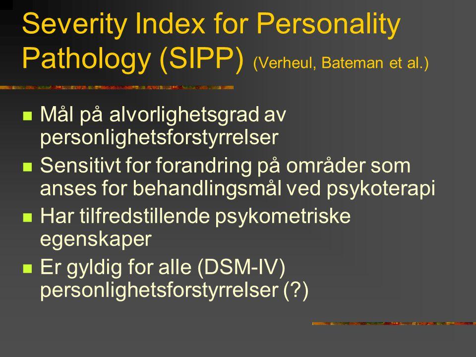 Teoretiske antakelser for SIPP  Felles trekk for alle PF er mangel på tilstrekkelige adaptive evner (hovedsakelig grunnet i oppvekstvilkår)  Den spesifikke typen av PF er primært betinget av temperamentsfaktorer (sterkt biologisk influert)  Individet må utvikle basale regulative og høyere refleksive evner for å kunne adaptivt aktualisere sine muligheter på en ansvarlig måte.