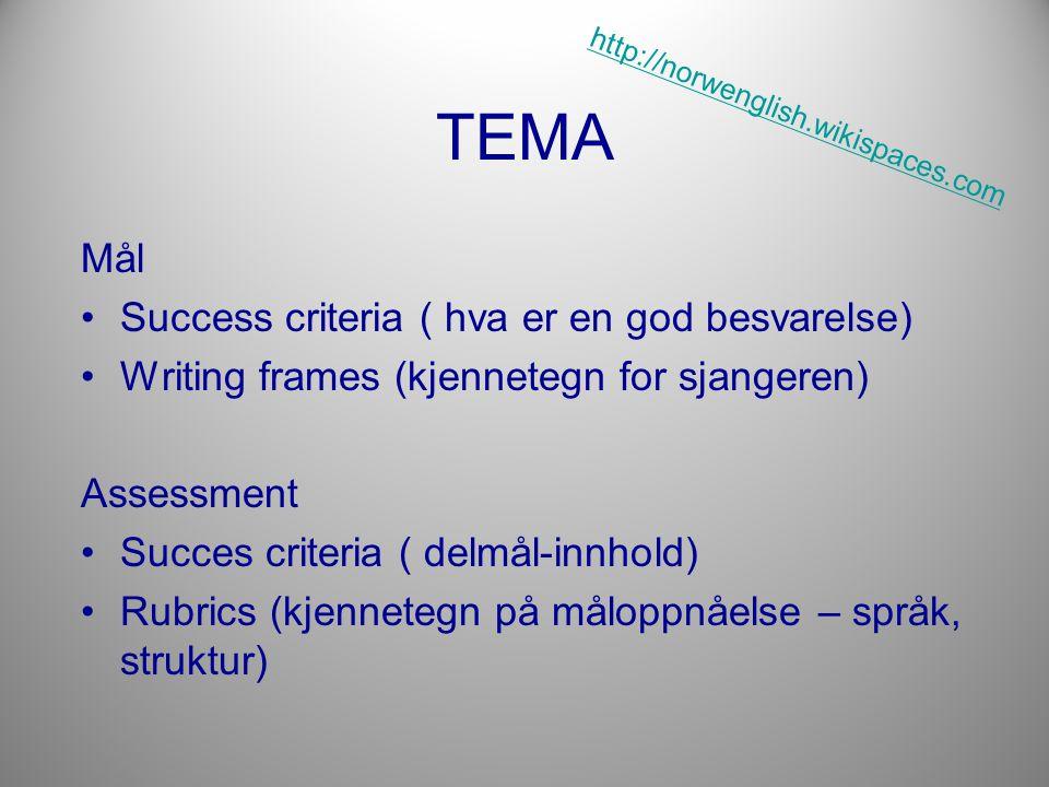 TEMA Mål •Success criteria ( hva er en god besvarelse) •Writing frames (kjennetegn for sjangeren) Assessment •Succes criteria ( delmål-innhold) •Rubrics (kjennetegn på måloppnåelse – språk, struktur) http://norwenglish.wikispaces.com