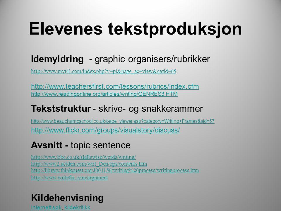 Elevenes tekstproduksjon Idemyldring - graphic organisers/rubrikker http://www.myt4l.com/index.php?v=pl&page_ac=view&catid=65 http://www.teachersfirst.com/lessons/rubrics/index.cfm http://www.readingonline.org/articles/writing/GENRES3.HTM Tekststruktur - skrive- og snakkerammer http://www.beauchampschool.co.uk/page_viewer.asp?category=Writing+Frames&sid=57 http://www.beauchampschool.co.uk/page_viewer.asp?category=Writing+Frames&sid=57 http://www.flickr.com/groups/visualstory/discuss/ Avsnitt - topic sentence http://www.bbc.co.uk/skillswise/words/writing/ http://www2.actden.com/writ_Den/tips/contents.htm http://library.thinkquest.org/J001156/writing%20process/writingprocess.htm http://www.writefix.com/argument Kildehenvisning Internett søkInternett søk, kildekritikkkildekritikk