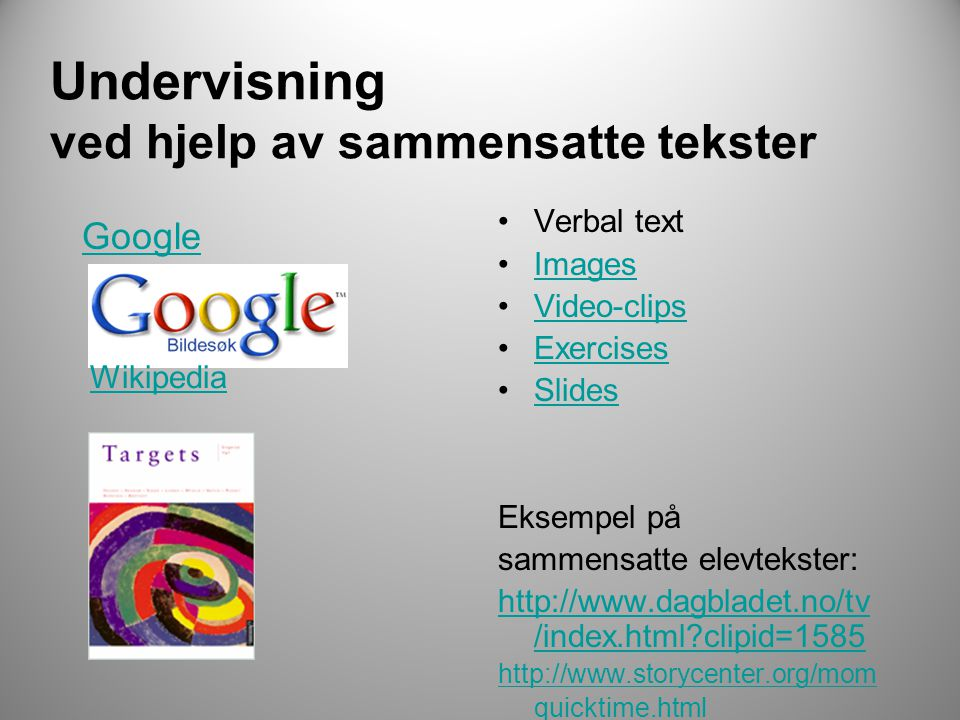 Undervisning ved hjelp av sammensatte tekster Google •Verbal text •ImagesImages •Video-clipsVideo-clips •ExercisesExercises •SlidesSlides Eksempel på