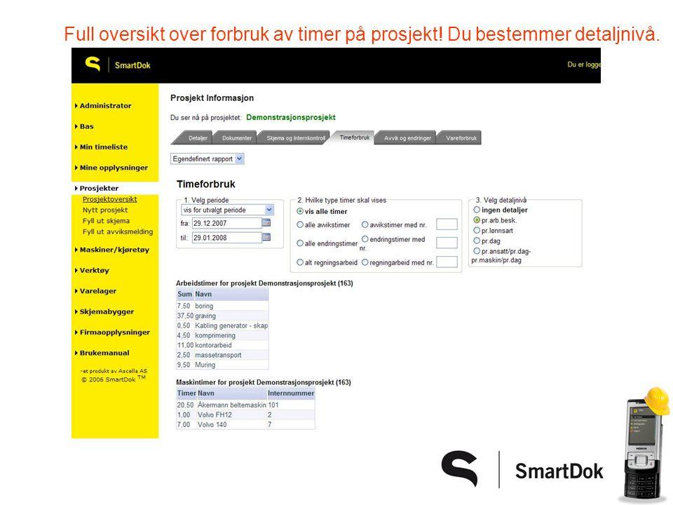 Full oversikt over forbruk av timer på prosjekt! Du bestemmer detaljnivå.
