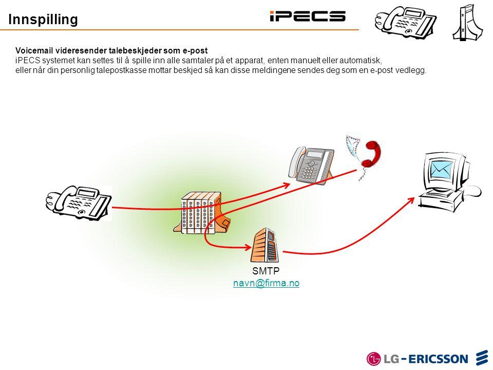 Voicemail videresender talebeskjeder som e-post iPECS systemet kan settes til å spille inn alle samtaler på et apparat, enten manuelt eller automatisk