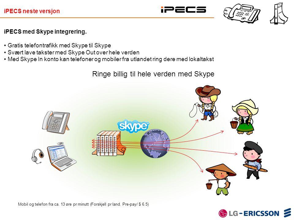 iPECS neste versjon iPECS med Skype integrering. • Gratis telefontrafikk med Skype til Skype • Svært lave takster med Skype Out over hele verden • Med