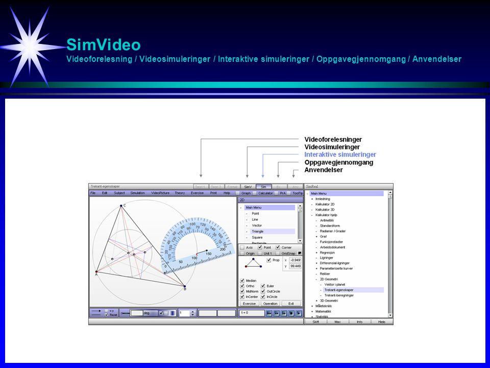 SimVideo Videreutvikling - Videreutvikle videoforelesninger, videosimuleringer, interaktive simuleringer oppgavegjennomgang og anvendelser - Tettere integrasjon fagsider / SimVideo - Integrasjon SimVideo / MyLabs - Onlinehjelp / Statistikk / Digital eksamen - Tilgjengelighet i realfag ved UiA og eventuelt andre universiteter - Tilpasse SimVideo til andre fag (økonomi, språk, helse, …) - Videreutvikle MA-209 til komplett nettbasert modul - Videreutvikle matematikk forkurs til komplett nettbasert modul - Videreutvikle anvendelsesmoduler (fysikk) for MA-209 - Utvikle SimVideo i elektromagnetisme - Utvikle SimVideo i kvantefysikk - Utvikle diagnostiske simuleringer - Utvikle interaktive tegneprogram for simuleringer i fysikk - Digital eksamen med virtuelt laboratorium
