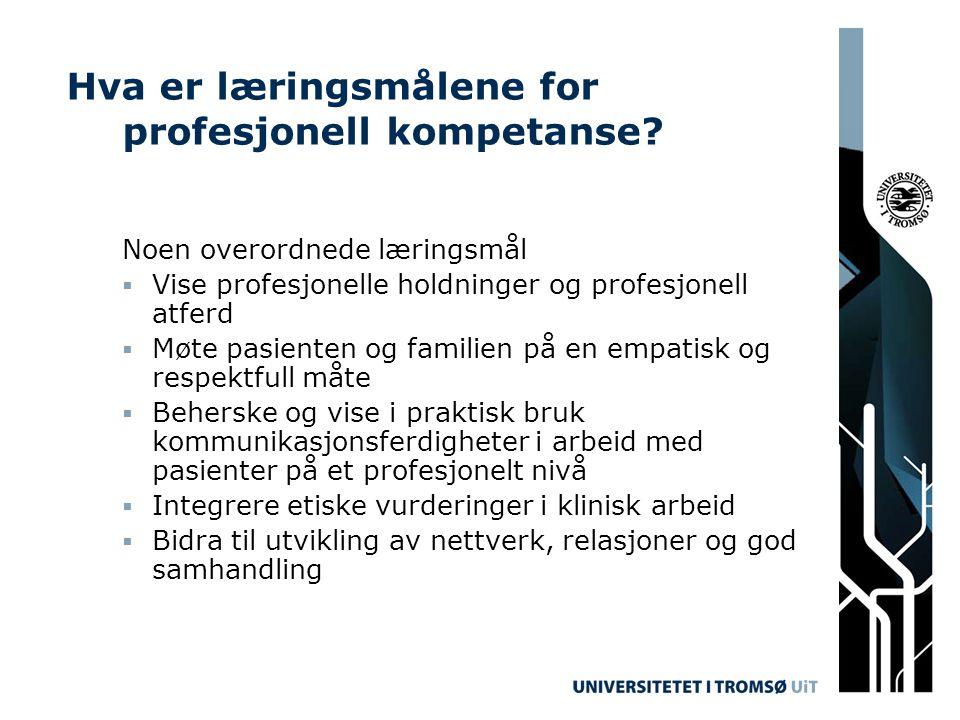 Hva er læringsmålene for profesjonell kompetanse? Noen overordnede læringsmål  Vise profesjonelle holdninger og profesjonell atferd  Møte pasienten