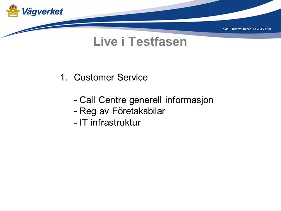10SAST Kvartalsmöte Q1 - BTv / Live i Testfasen 1.Customer Service - Call Centre generell informasjon - Reg av Företaksbilar - IT infrastruktur