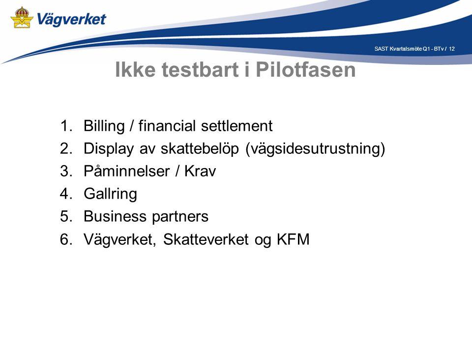 12SAST Kvartalsmöte Q1 - BTv / Ikke testbart i Pilotfasen 1.Billing / financial settlement 2.Display av skattebelöp (vägsidesutrustning) 3.Påminnelser / Krav 4.Gallring 5.Business partners 6.Vägverket, Skatteverket og KFM