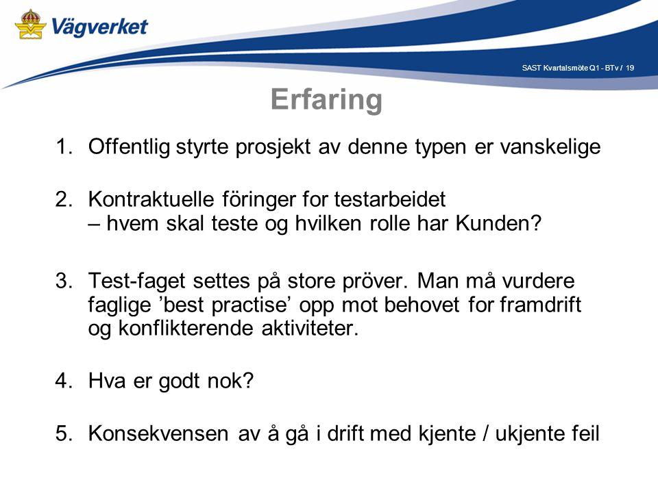 19SAST Kvartalsmöte Q1 - BTv / Erfaring 1.Offentlig styrte prosjekt av denne typen er vanskelige 2.Kontraktuelle föringer for testarbeidet – hvem skal teste og hvilken rolle har Kunden.