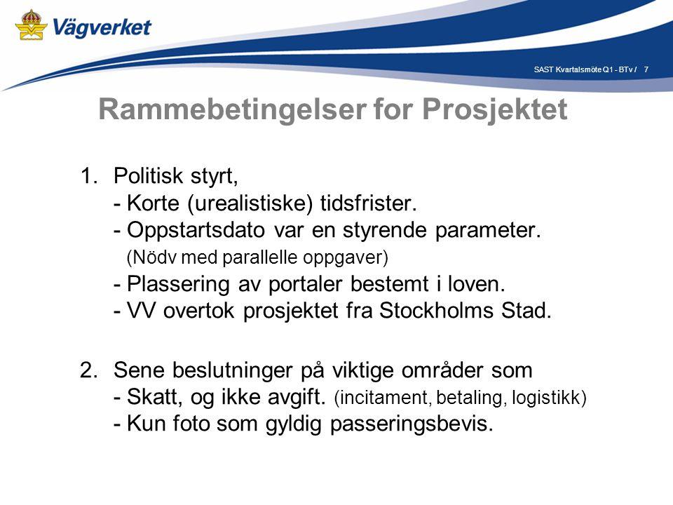 7SAST Kvartalsmöte Q1 - BTv / Rammebetingelser for Prosjektet 1.Politisk styrt, - Korte (urealistiske) tidsfrister.