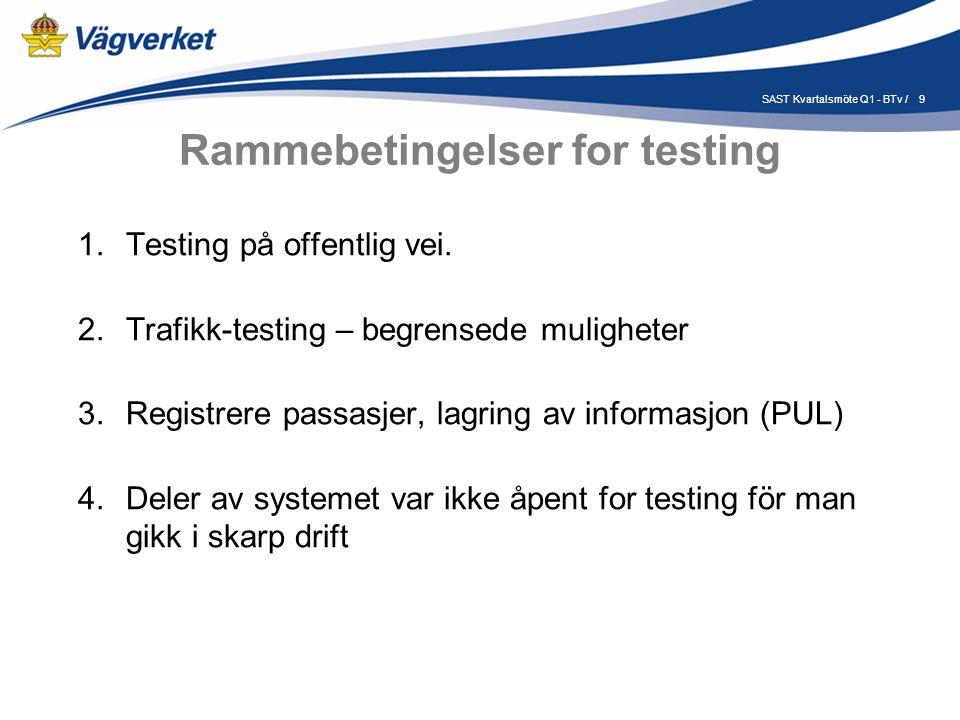 9SAST Kvartalsmöte Q1 - BTv / Rammebetingelser for testing 1.Testing på offentlig vei.
