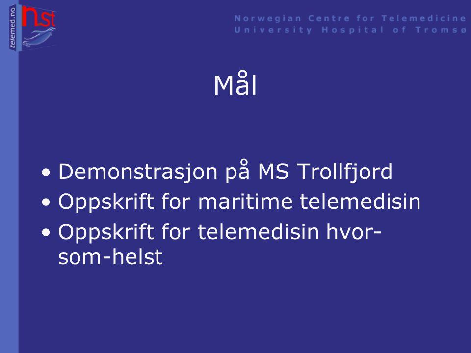 TelAny (Telemedicine Anywhere) •Demonstrasjon på Hurtigruta TFDS –Enkel tilgang –Prosjektgruppe – bo ombord •Et teknologiprosjekt •Europeisk Romfartsorganisasjon