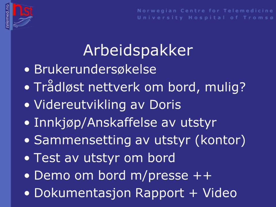 Mål •Demonstrasjon på MS Trollfjord •Oppskrift for maritime telemedisin •Oppskrift for telemedisin hvor- som-helst