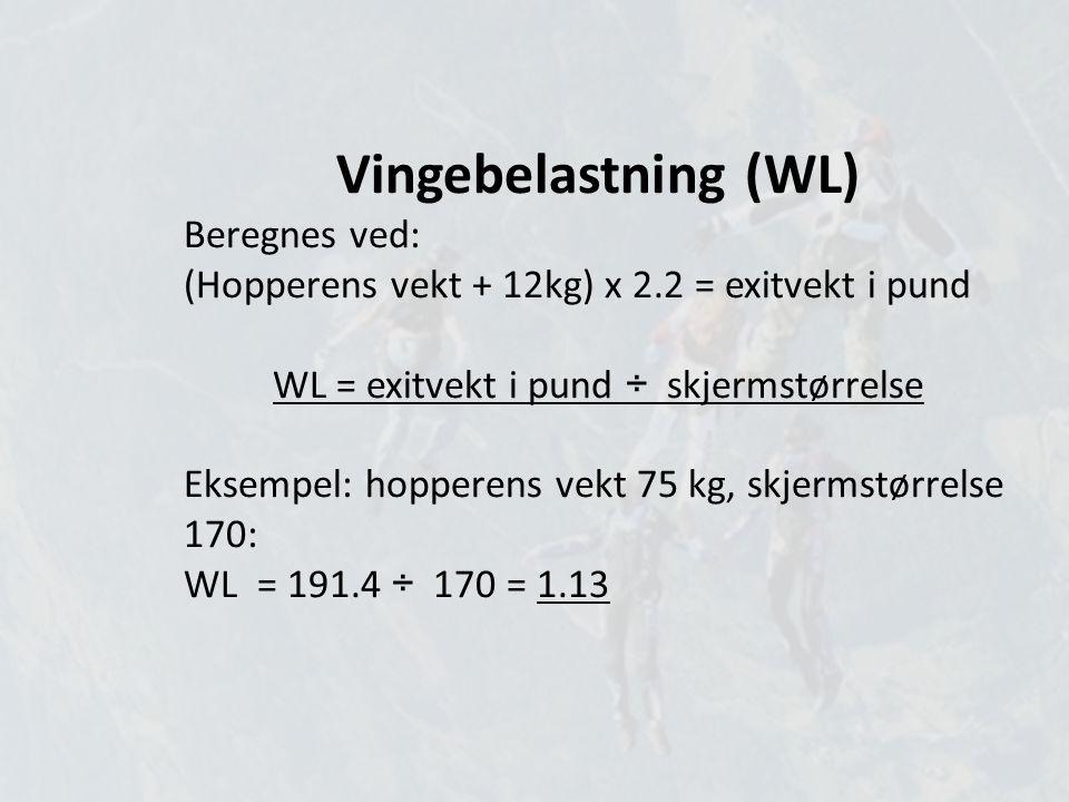 Vingebelastning (WL) Beregnes ved: (Hopperens vekt + 12kg) x 2.2 = exitvekt i pund WL = exitvekt i pund ÷ skjermstørrelse Eksempel: hopperens vekt 75 kg, skjermstørrelse 170: WL = 191.4 ÷ 170 = 1.13