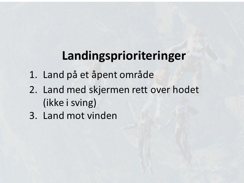 Landingsprioriteringer 1.Land på et åpent område 2.Land med skjermen rett over hodet (ikke i sving) 3.Land mot vinden