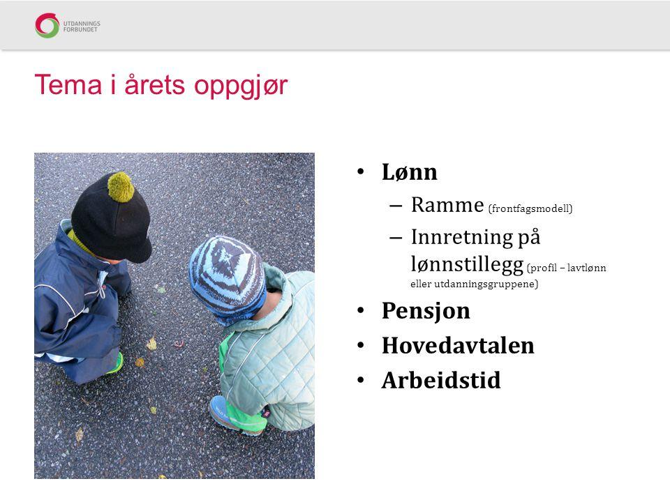 Tema i årets oppgjør • Lønn – Ramme (frontfagsmodell) – Innretning på lønnstillegg (profil – lavtlønn eller utdanningsgruppene) • Pensjon • Hovedavtal