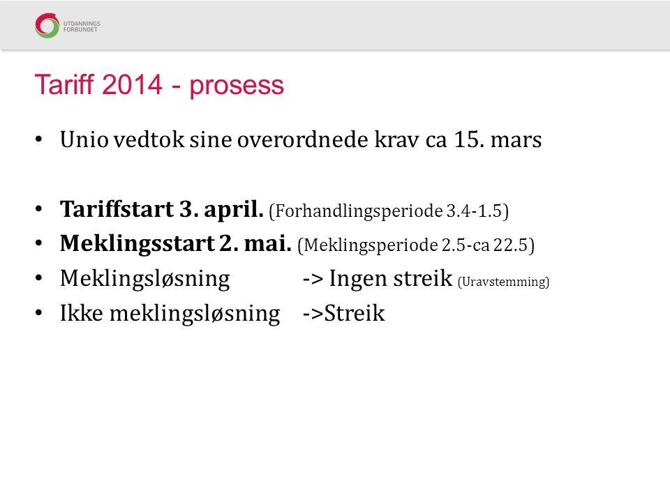 Tariff 2014 - prosess • Unio vedtok sine overordnede krav ca 15. mars • Tariffstart 3. april. (Forhandlingsperiode 3.4-1.5) • Meklingsstart 2. mai. (M