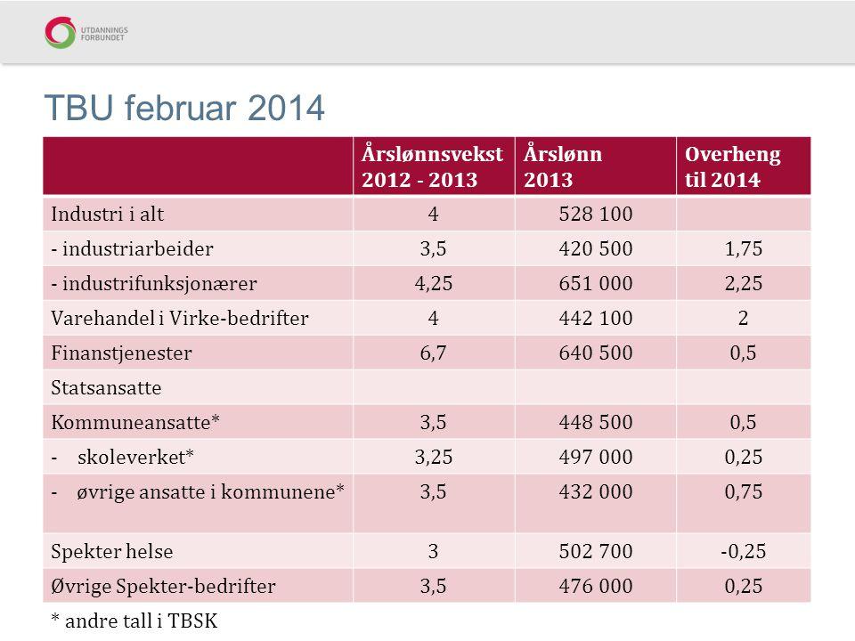 TBU februar 2014 Årslønnsvekst 2012 - 2013 Årslønn 2013 Overheng til 2014 Industri i alt4528 100 - industriarbeider3,5420 5001,75 - industrifunksjonær