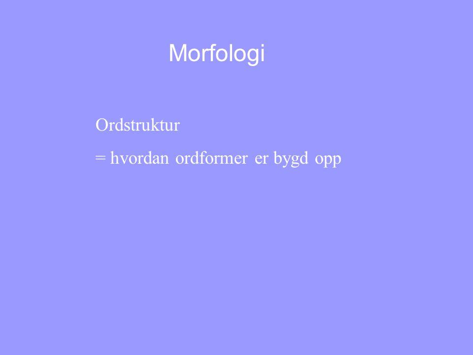 Morfologi Ordstruktur = hvordan ordformer er bygd opp