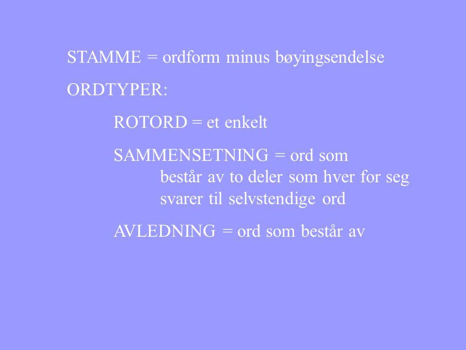 STAMME = ordform minus bøyingsendelse ORDTYPER: ROTORD = et enkelt SAMMENSETNING = ord som består av to deler som hver for seg svarer til selvstendige ord AVLEDNING = ord som består av