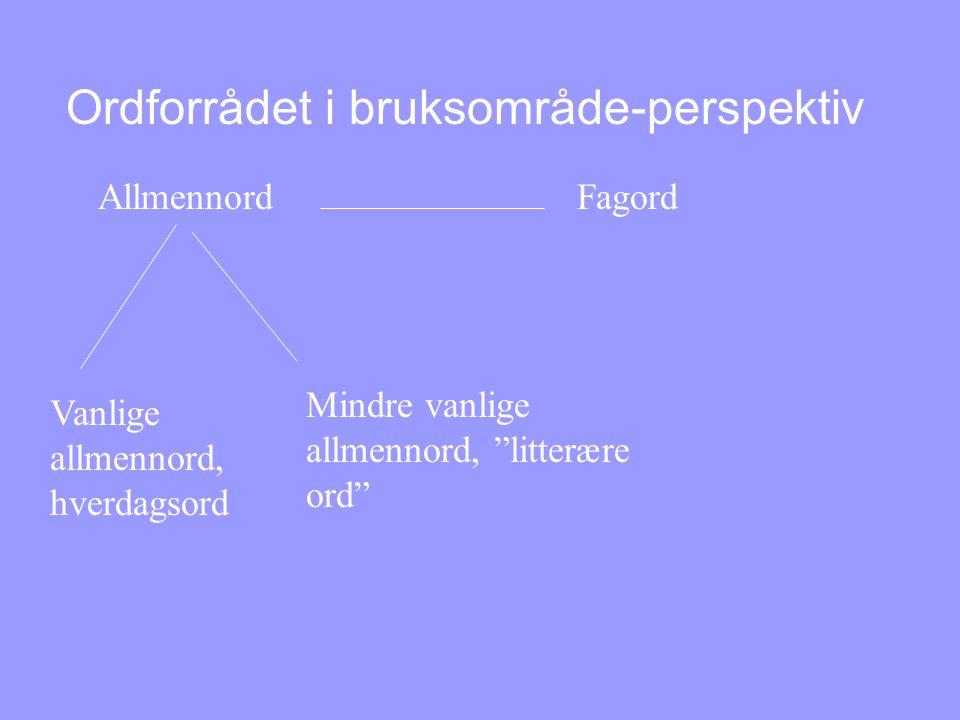 Ordforrådet i bruksområde-perspektiv Allmennord Fagord Vanlige allmennord, hverdagsord Mindre vanlige allmennord, litterære ord