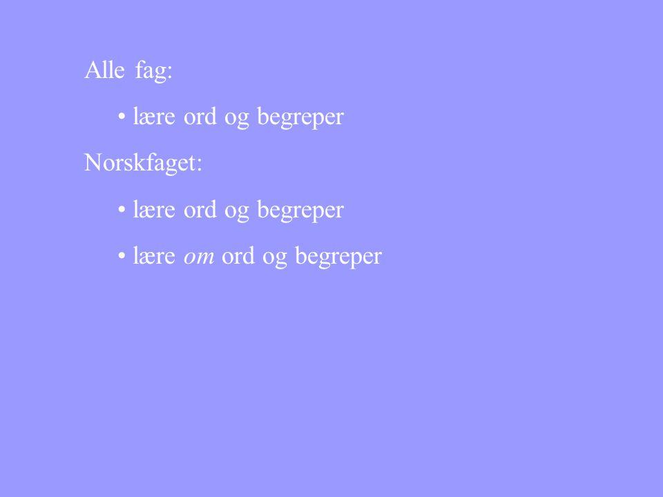 Alle fag: • lære ord og begreper Norskfaget: • lære ord og begreper • lære om ord og begreper