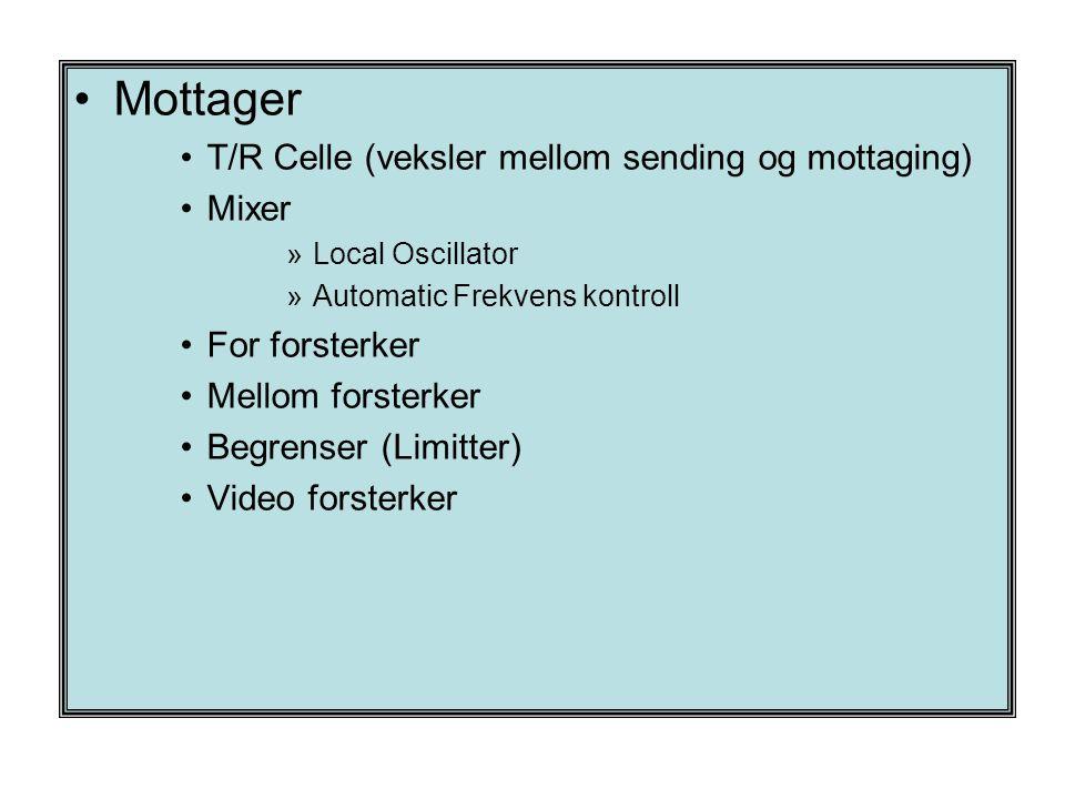 •Mottager •T/R Celle (veksler mellom sending og mottaging) •Mixer »Local Oscillator »Automatic Frekvens kontroll •For forsterker •Mellom forsterker •B