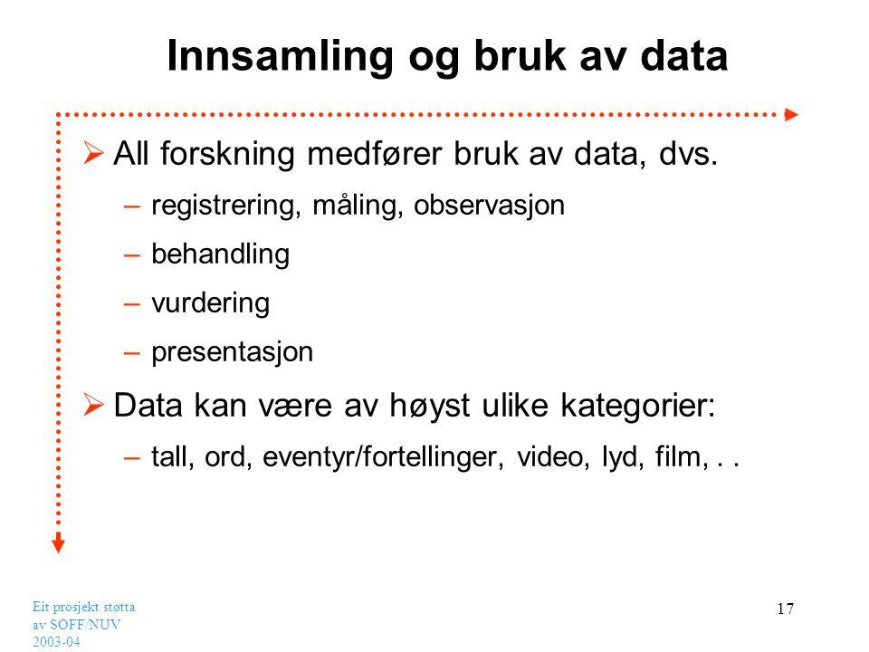 Eit prosjekt støtta av SOFF/NUV 2003-04 17 Innsamling og bruk av data  All forskning medfører bruk av data, dvs. –registrering, måling, observasjon –
