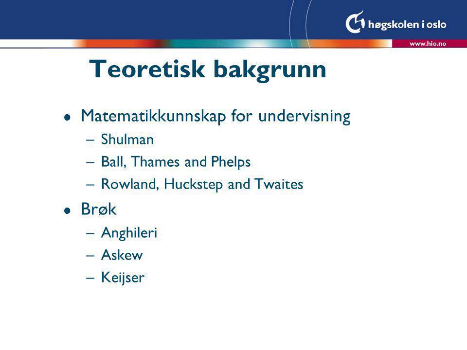 Diskusjon l Berit's generelle undervisningskompetanse l Brøk – bare som del av en helhet l Hva med målene for timen og det som foregikk i timen
