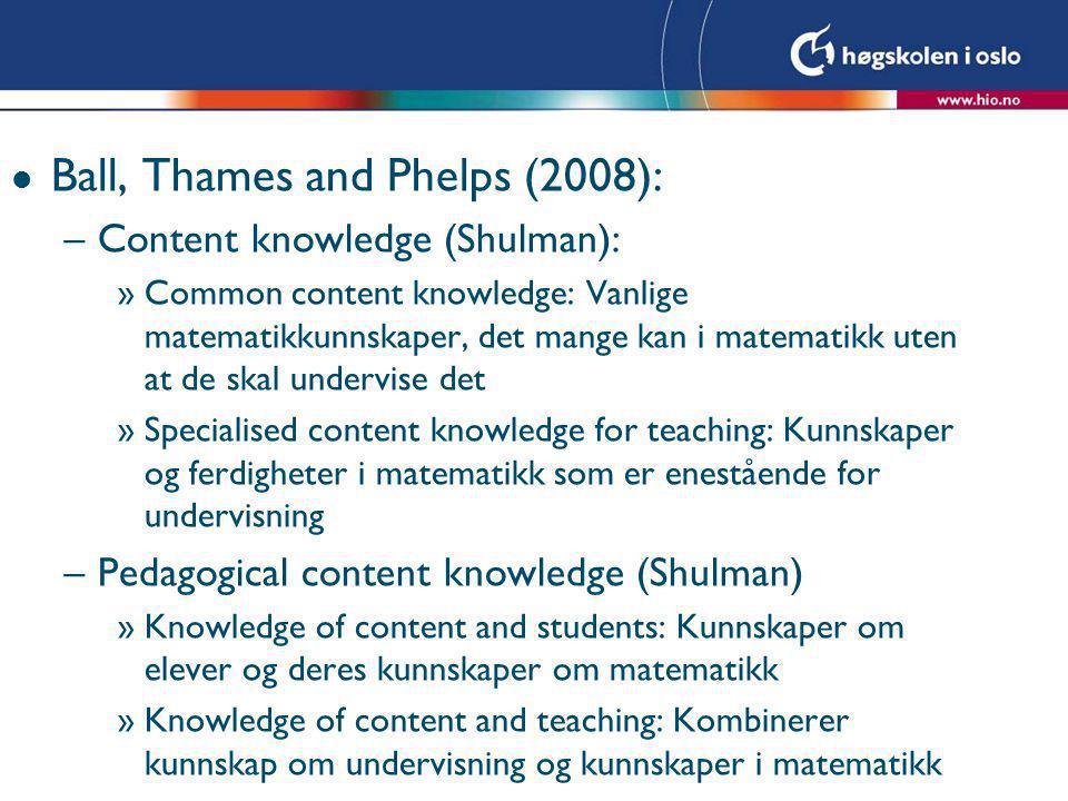 l Ball, Thames and Phelps (2008): –Content knowledge (Shulman): »Common content knowledge: Vanlige matematikkunnskaper, det mange kan i matematikk ute