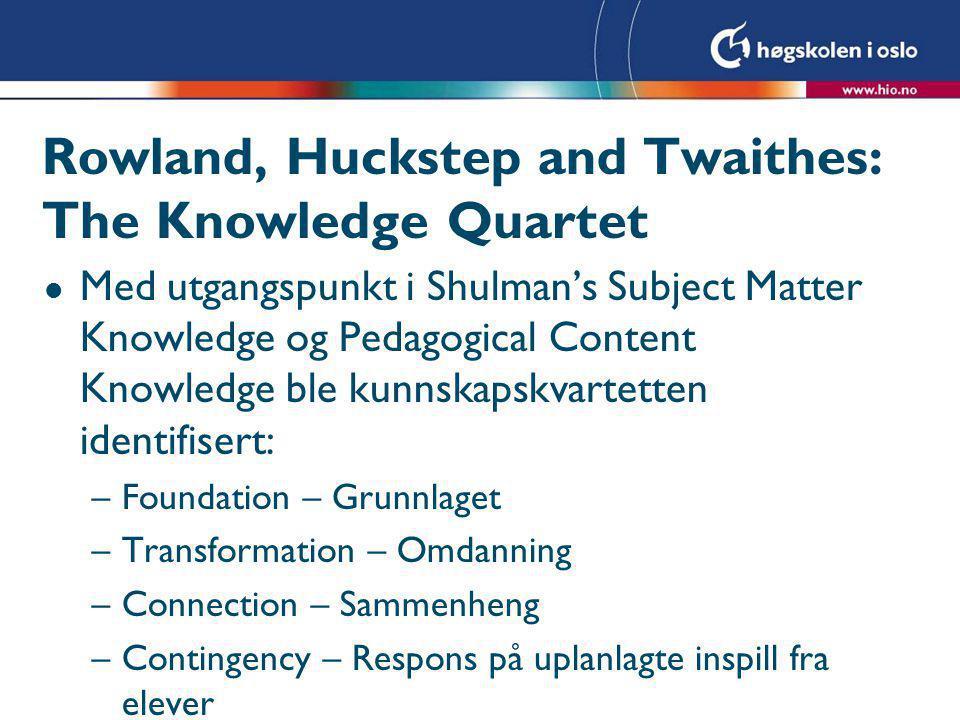 Foundation- Grunnlaget: l Det som er forankret i lærerens teoretiske bakgrunn og forestillinger.