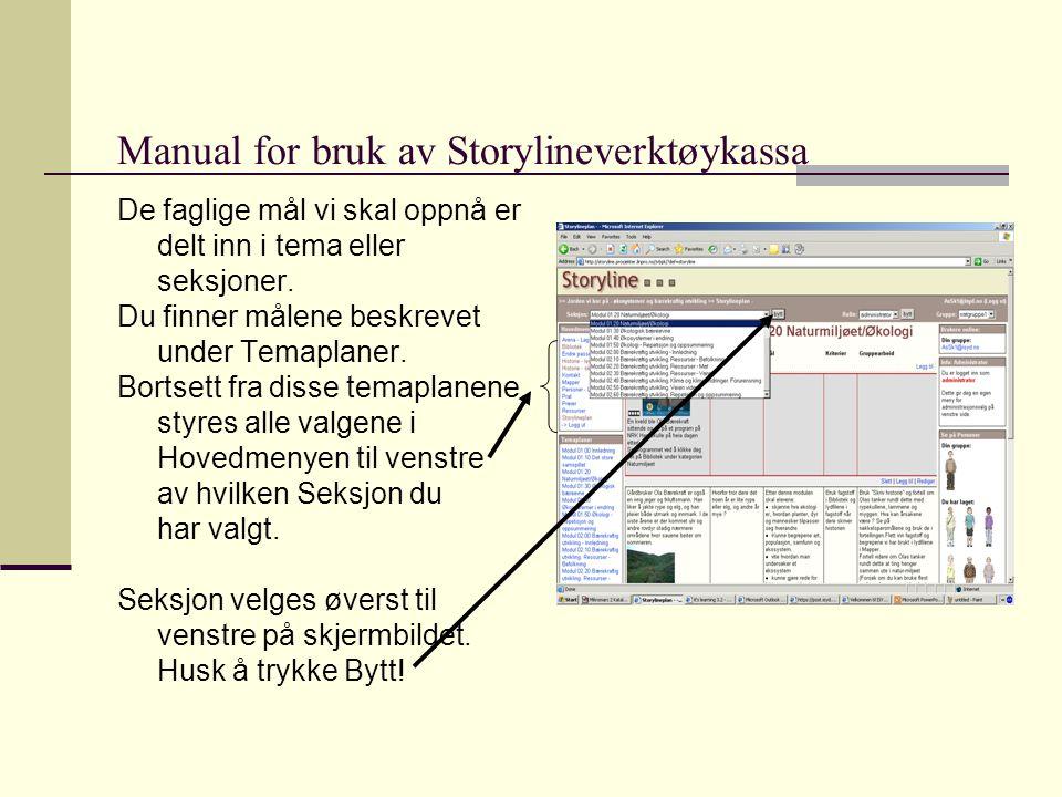 Manual for bruk av Storylineverktøykassa De faglige mål vi skal oppnå er delt inn i tema eller seksjoner.