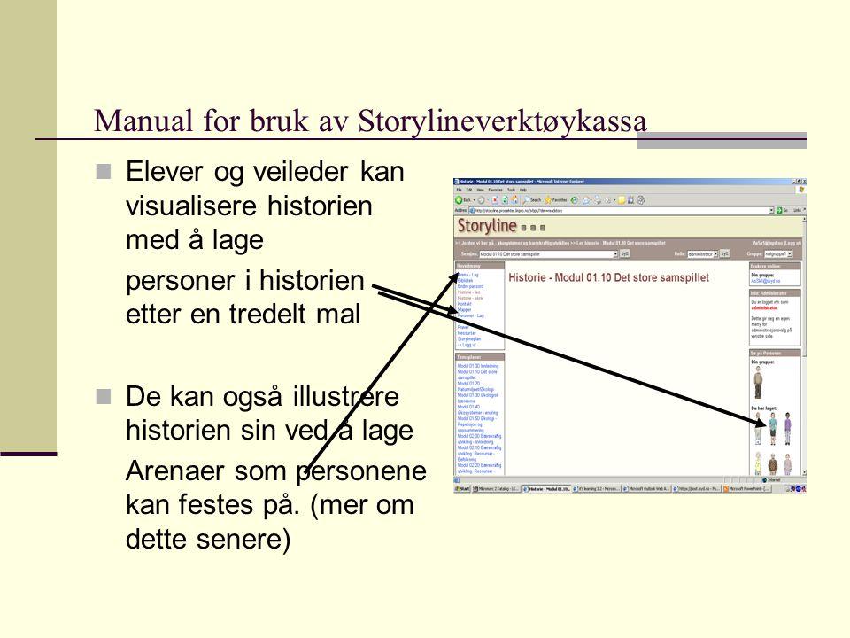Manual for bruk av Storylineverktøykassa  Elever og veileder kan visualisere historien med å lage personer i historien etter en tredelt mal  De kan også illustrere historien sin ved å lage Arenaer som personene kan festes på.