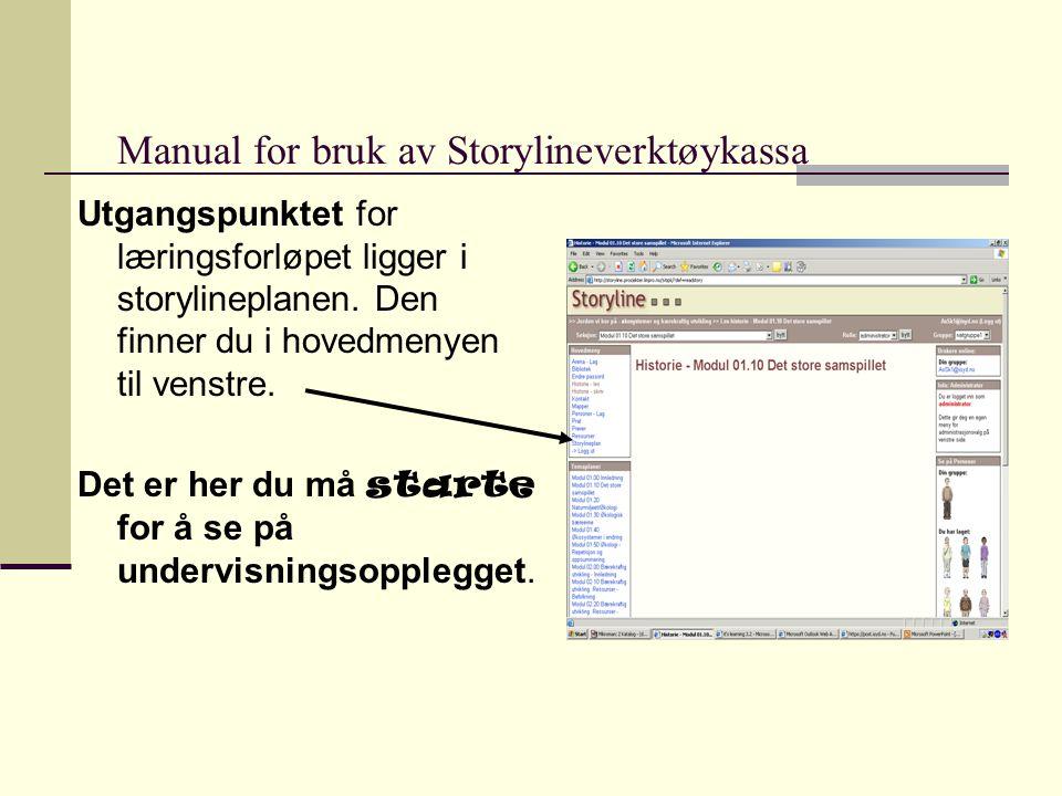 Manual for bruk av Storylineverktøykassa Utgangspunktet for læringsforløpet ligger i storylineplanen.