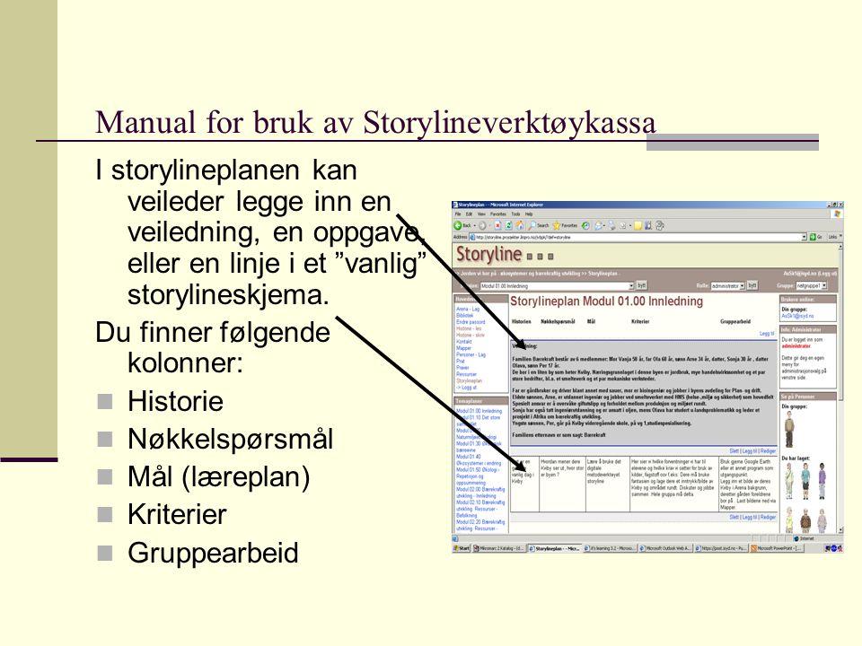 Manual for bruk av Storylineverktøykassa I storylineplanen kan veileder legge inn en veiledning, en oppgave, eller en linje i et vanlig storylineskjema.
