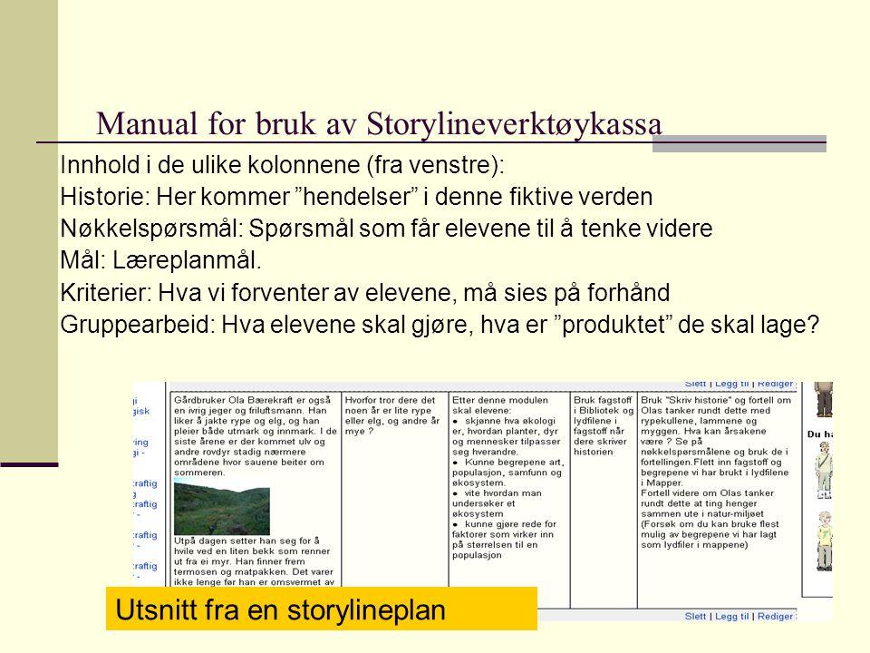 Manual for bruk av Storylineverktøykassa Innhold i de ulike kolonnene (fra venstre): Historie: Her kommer hendelser i denne fiktive verden Nøkkelspørsmål: Spørsmål som får elevene til å tenke videre Mål: Læreplanmål.