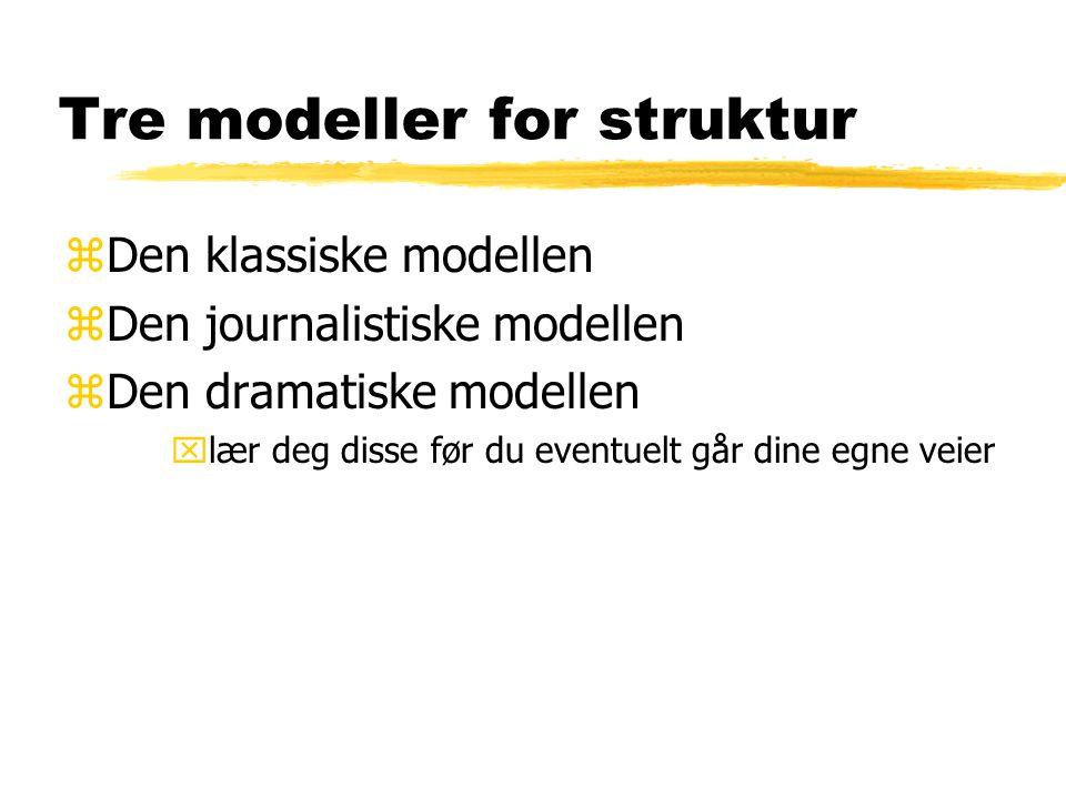 Tre modeller for struktur zDen klassiske modellen zDen journalistiske modellen zDen dramatiske modellen xlær deg disse før du eventuelt går dine egne veier