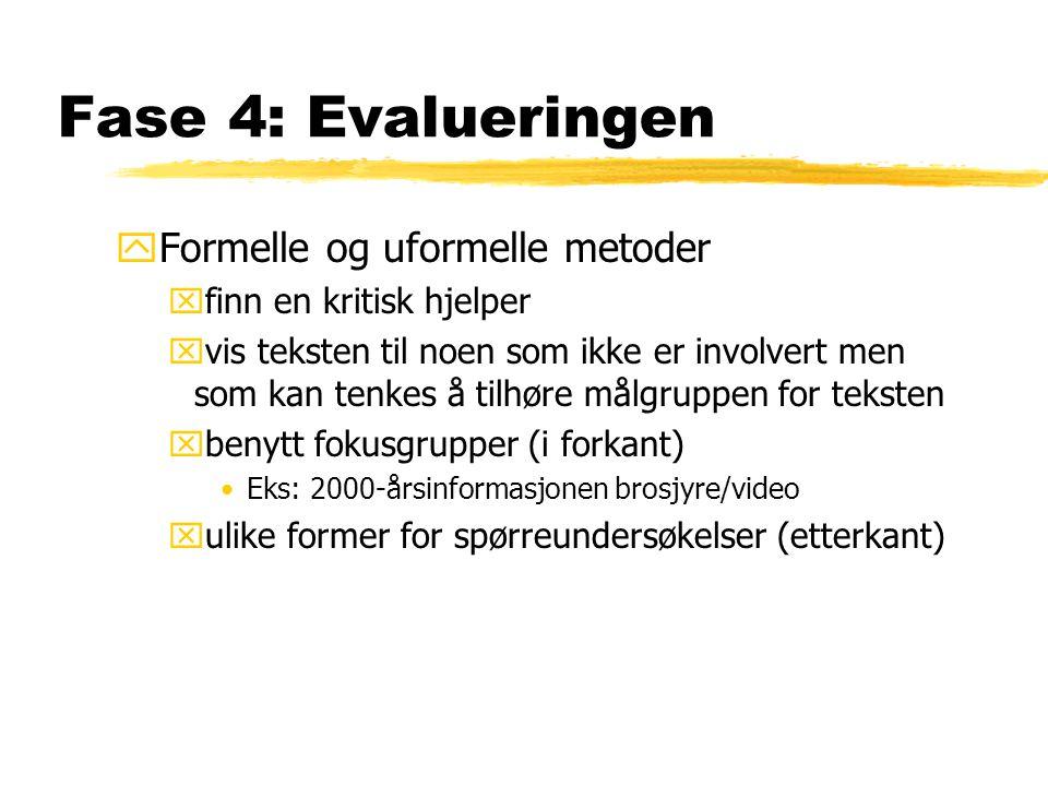 Fase 4: Evalueringen yFormelle og uformelle metoder xfinn en kritisk hjelper xvis teksten til noen som ikke er involvert men som kan tenkes å tilhøre målgruppen for teksten xbenytt fokusgrupper (i forkant) •Eks: 2000-årsinformasjonen brosjyre/video xulike former for spørreundersøkelser (etterkant)