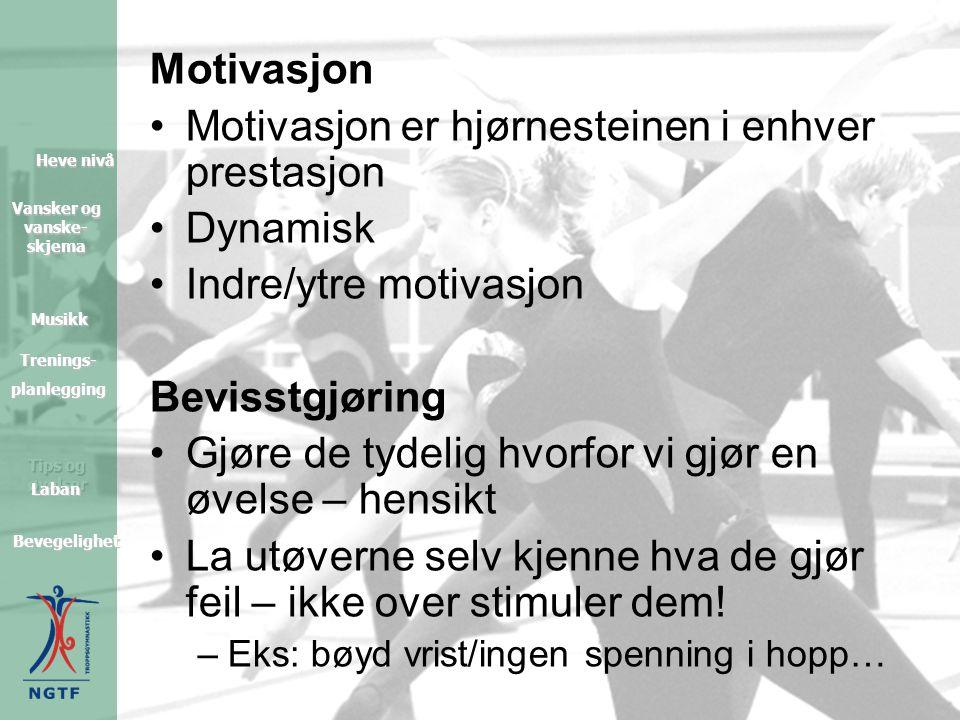 Tips og øvelser Heve nivå Heve nivå Vansker og vanske- skjema Vansker og vanske- skjema Musikk Trenings- planlegging Bevegelighet Laban Motivasjon •Motivasjon er hjørnesteinen i enhver prestasjon •Dynamisk •Indre/ytre motivasjon Bevisstgjøring •Gjøre de tydelig hvorfor vi gjør en øvelse – hensikt •La utøverne selv kjenne hva de gjør feil – ikke over stimuler dem.